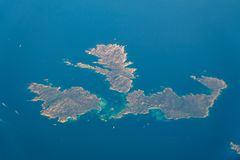 Satellite View Of Earth Islands In Mediterranean Sea Stock Image