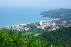 High scenic view point landscape of resorts on mountain and blue Andaman Sea in Phuket island of Thailand Stock Photo