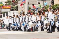 High School Band For Public Event. Banos De Agua Santa, Ecuador - 26 July 2015: Police High School Band Performing For The Summer Break Festivity In Banos De Royalty Free Stock Photography