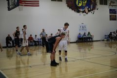 High School Basketball Players. At a game royalty free stock photo