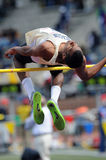 High School boys high jumper. PHILADELPHIA - APRIL 30: Alex Brown from Beacon High School (Beacon, NY) competes in the high jump competition at the 2011 Penn Royalty Free Stock Photos