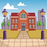 High school building cartoon stock illustration