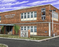 High School Building Illustration. Illustration of a high school building. It's where students go to get an education Stock Photography