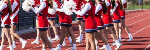 High school cheerleading squad royalty free stock photography