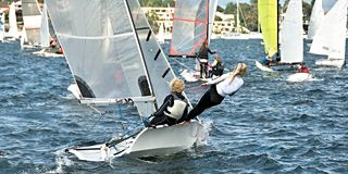 High School Children Sailing. Combined High School Sailing Championships Lake Macquarie Stock Photo