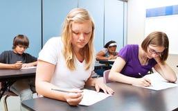 High School Class Test Stock Image