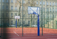 High School-College Basketball Court. High School or College Basketball Court. Outdoor playground Stock Images
