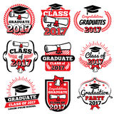 High school and college graduation, off to school vector logos and labels set. Graduation academy and illustration label to graduation college Stock Photo