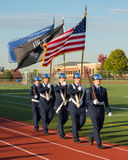 High School Color Guard. Color guard at a high school soccer game Royalty Free Stock Image