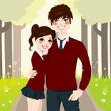 High School Couple Hugging stock illustration