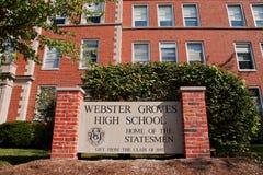 High School dei boschetti del Webster immagine stock