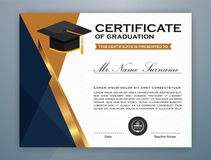 High School Diploma Certificate Template. Design with graduate cap for Print. Vector illustration Stock Images
