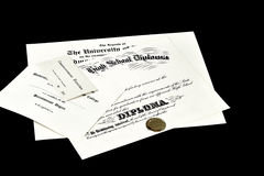 High School Diploma College Degree Certificate Royalty Free Stock Photography