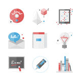 High school education flat icons set. Flat icons set of high school and college education, online learning and distance study, new ideas and research innovations Stock Image