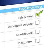 High school education level survey Stock Image