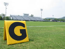 High School Football Field. View of football field from the endzone goal line Royalty Free Stock Photo