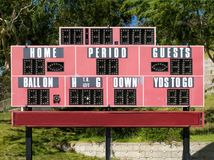 High School Football Stadium Scoreboard Stock Images