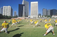 High School Football team practices Royalty Free Stock Photo