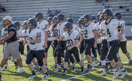 High school football team on pitch Stock Photography