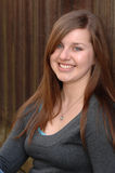 High school girl headshot fence Royalty Free Stock Photo