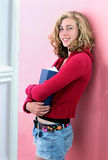 High school girl holding book Royalty Free Stock Photo