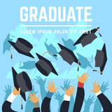High school graduating students throw black graduation caps up in sky vector illustration Stock Images