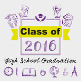 High school graduation. Class of 2016. Illustration in vector format Royalty Free Stock Images