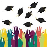 High school graduation. Silhouette of hands raised upwards.  illustration Royalty Free Stock Photos
