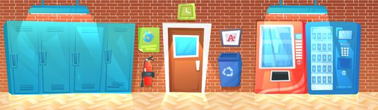 High School hallway interior banner with row of lockers and trash and fire extinguisher. Vector cartoon illustration royalty free illustration