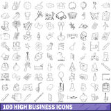100 high school icons set, outline style Stock Photography