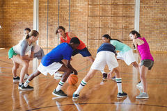 High school kids warming up in the court. Determined high school kids warming up in the court Royalty Free Stock Photography