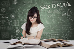 High school learner doing school assignment Stock Image