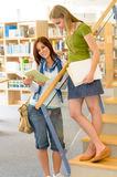 High school library students with books Royalty Free Stock Photography