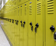 High School Lockers. Lockers used for student storage while in school stock images
