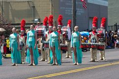 High School Marching Band at Parade Stock Image