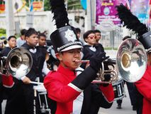 High school marching band. Parade in thailand Stock Photography