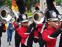 High school marching band. Parade in thailand Royalty Free Stock Photography