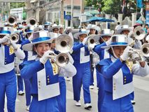 High school marching band. Parade in thailand Royalty Free Stock Photo