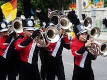 High school marching band. Parade in thailand Royalty Free Stock Image