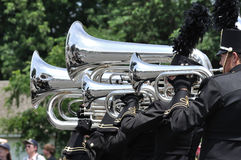 High School Marching Band Performing in Parade Royalty Free Stock Photo