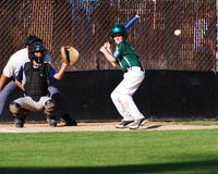 High School Player At Bat. Stock Images