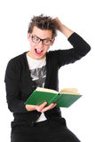 High school pupil is reading a book Royalty Free Stock Photos