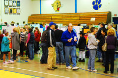 High School Science Fair. Parents and students view the experiments at a local school science fair Royalty Free Stock Images