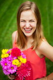 High school senior girl portrait with flowers Stock Image
