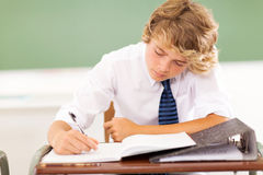 High school student. Cute high school student writing in classroom Stock Photo