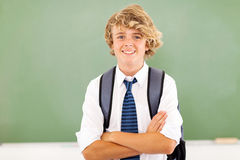 High school student. Cute and happy male high school student in classroom royalty free stock image