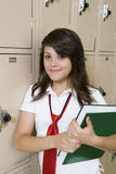 High School Student Beside School Lockers Stock Photos