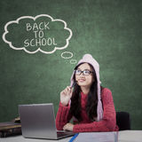 High school student and text of back to school Stock Photos