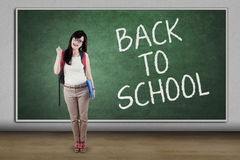 High school student with text Back to School Stock Photo