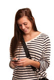 High School Student Texting on Cell Phone Stock Photos
